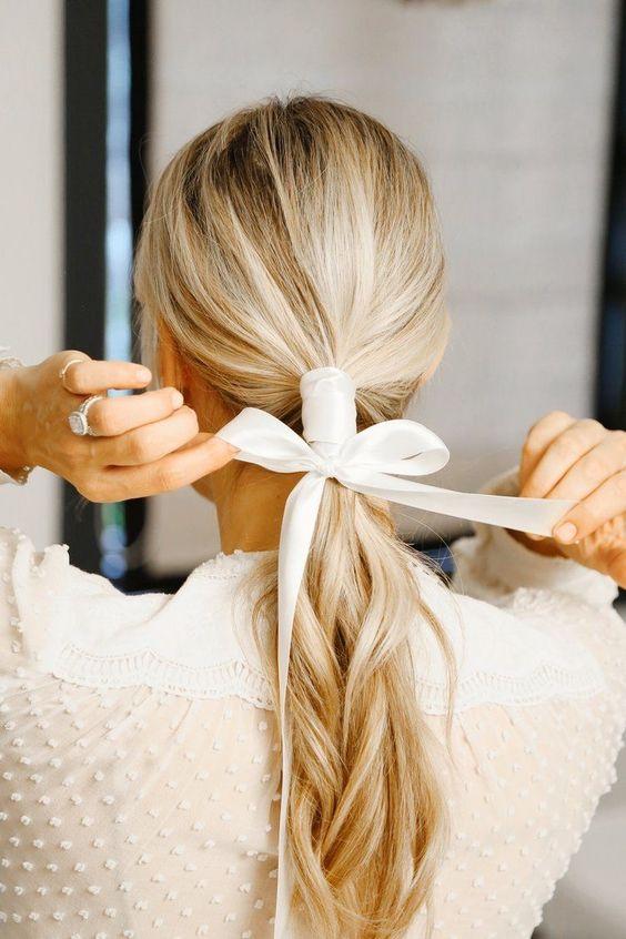 White Ribbon Bow Tie wedding hairstyle