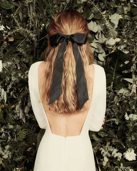 Ribbon Bow Tie wedding hairstyle