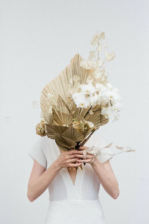 Modern orchid wedding bouquet