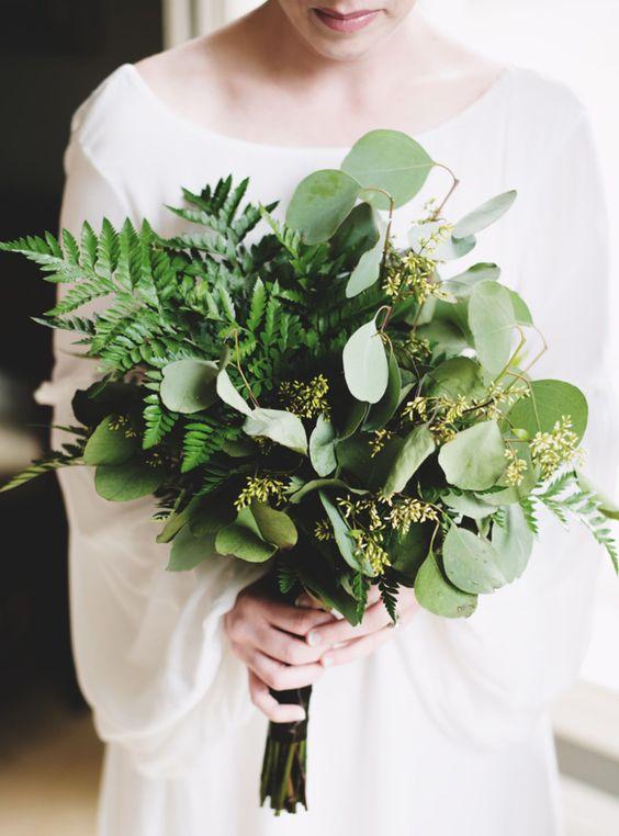 Green flowerless wedding bouquet