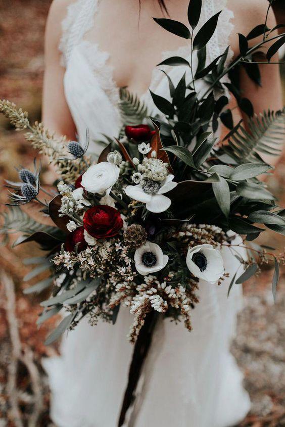 dark burgundy Cascading wedding bouquet