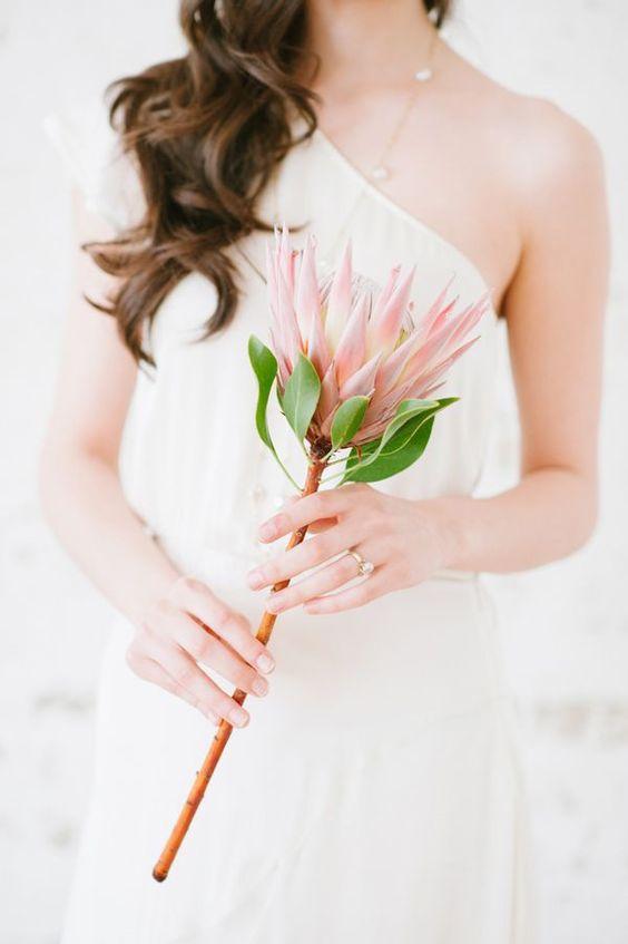 trendy pink bridal mono bouquet