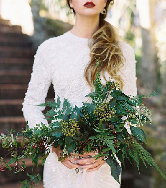 Green flowerless bridal bouquet