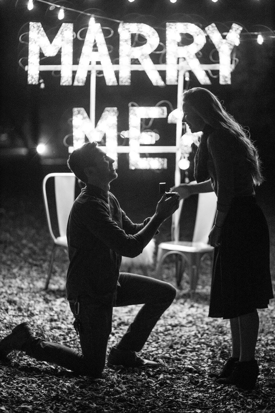 Marriage proposal idea with lights